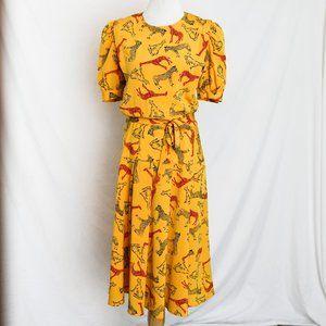 Dresses & Skirts - VINTAGE 80s Safari Animal Print Puff Sleeve Dress